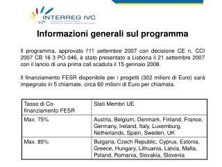 Informazioni generali sul programma