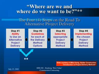 Stop #1 Ability  to Use an Alternative Project Delivery