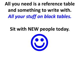 All you need is a reference table and something to write with. All your stuff on black tables.