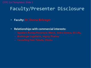 Faculty/Presenter Disclosure
