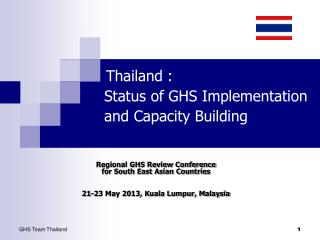 Thailand :          Status of GHS Implementation           and Capacity Building