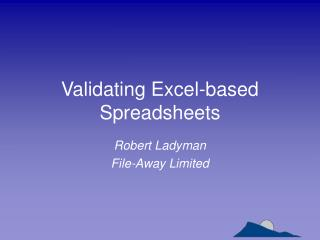Validating Excel-based Spreadsheets
