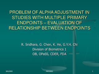 R. Sridhara, G. Chen, K. He, G.Y.H. Chi Division of Biometrics 1 OB, OPaSS, CDER, FDA