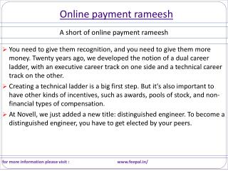 Facts about Online payment rameesh in India