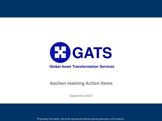Aachen meeting Action Items