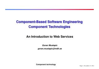 Component-Based Software Engineering Component Technologies