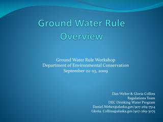 Ground Water Rule Overview