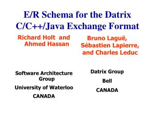 E/R Schema for the Datrix C/C++/Java Exchange Format