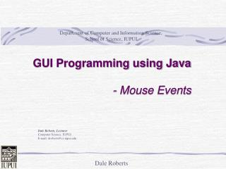 GUI Programming using Java - Mouse Events