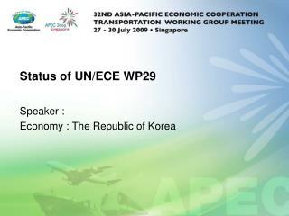 Status of UN/ECE WP29
