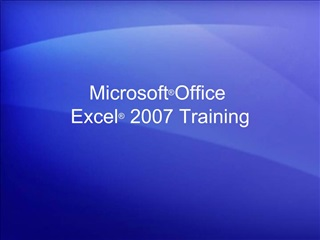 Microsoft  Office  Excel  2007 Training