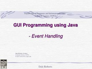 GUI Programming using Java - Event Handling