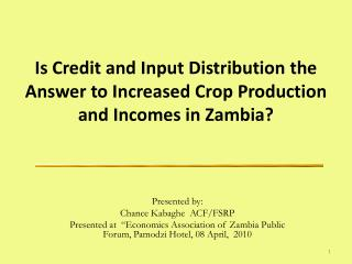 Is Credit and Input Distribution the Answer to Increased Crop Production and Incomes in Zambia