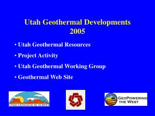 Utah Geothermal Developments 2005