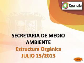 SECRETARIA DE MEDIO AMBIENTE Estructura Org�nica JULIO 15/2013