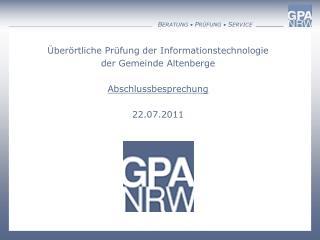Überörtliche Prüfung der Informationstechnologie der Gemeinde Altenberge Abschlussbesprechung