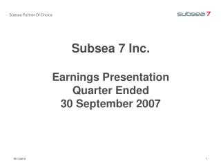 Subsea Partner Of Choice