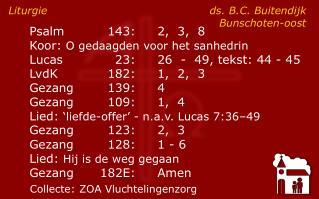 Liturgie ds. B.C. Buitendijk Bunschoten-oost