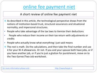 An Efficient Process about online fee payment niet