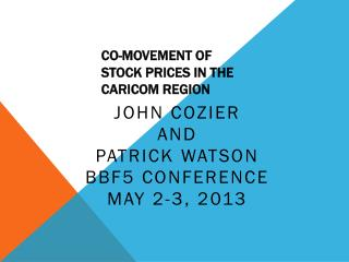 Co-movement of Stock Prices in the CARICOM Region