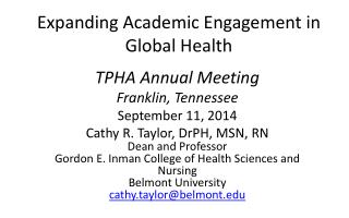 Expanding Academic Engagement in Global Health