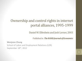 Wonjoon Chung School of Labor and Employment Relations (LER) September 18 th , 2012
