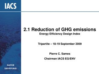 2.1 Reduction of GHG emissions  Energy Efficiency Design Index
