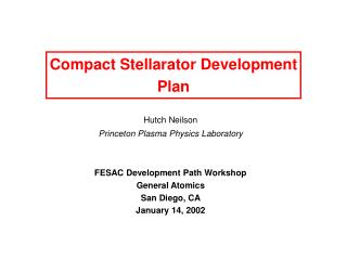 Compact Stellarator Development Plan