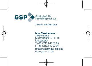 Sektion Musterstadt Max Mustermann Sektionsleiter  Musterstra�e 1, 11111 Musterstadt