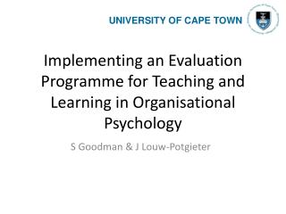 Implementing an Evaluation Programme for Teaching and Learning in Organisational Psychology