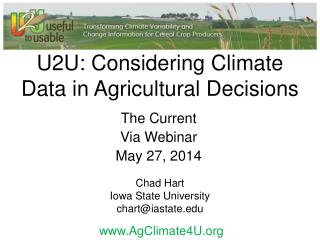 U2U: Considering Climate Data in Agricultural Decisions