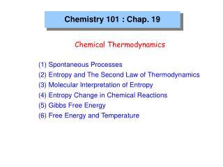 Chemistry 101 : Chap. 19