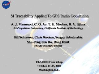 SI Traceability Applied To GPS Radio Occultation