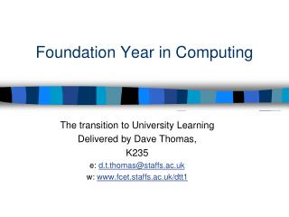 Foundation Year in Computing