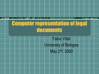 Computer representation of legal documents