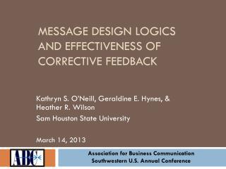 Message Design Logics and Effectiveness of Corrective Feedback