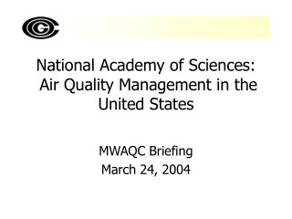National Academy of Sciences:  Air Quality Management in the United States