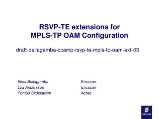 RSVP-TE extensions for  MPLS-TP OAM Configuration