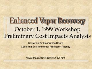 October 1, 1999 Workshop Preliminary Cost Impacts Analysis