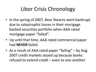 Libor Crisis Chronology