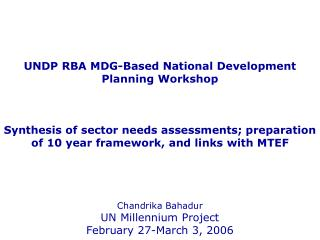 UNDP RBA MDG-Based National Development Planning Workshop