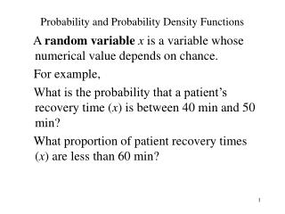 Probability and Probability Density Functions