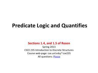 Predicate Logic and Quantifies
