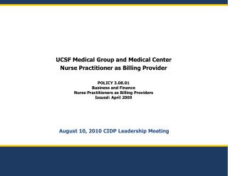 August 10, 2010 CIDP Leadership Meeting