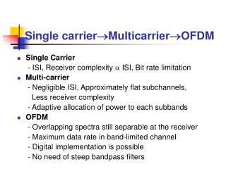 Single carrier  Multicarrier  OFDM