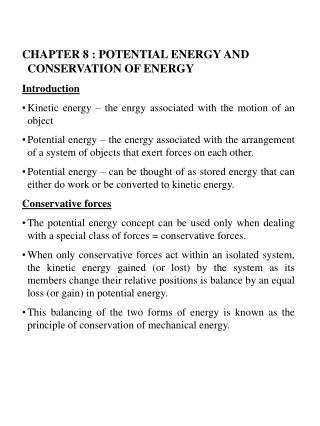CHAPTER 8 : POTENTIAL ENERGY AND CONSERVATION OF ENERGY Introduction