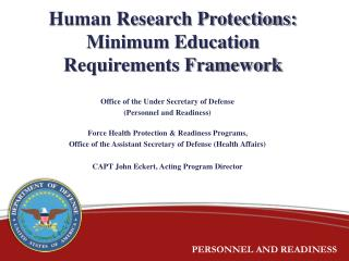 Human Research Protections: Minimum Education Requirements Framework