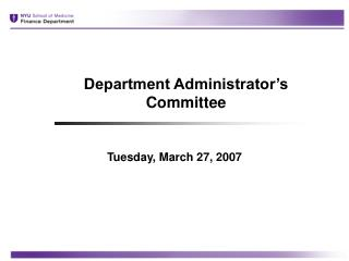 Department Administrator's Committee