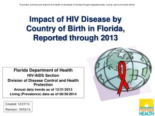Impact of HIV  Disease by  Country of Birth in Florida, Reported  through 2013