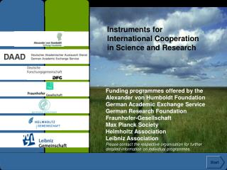 Instruments for  International Cooperation  in Science and Research
